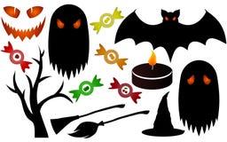 черный halloween silhouettes белизна Стоковые Изображения RF