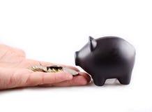 Черный piggy банк с деньгами Стоковое Изображение RF