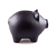 Черный piggy банк стоковое фото