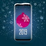 Черный smartphone сенсорного экрана с изображением шарика рождества Применение рождества Новый Год 2019 голубой вектор неба радуг иллюстрация штока