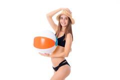 черный swimsuit девушки Стоковые Фото