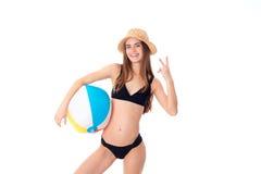 черный swimsuit девушки Стоковое Фото