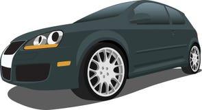 черный vw hatchback gti иллюстрация вектора