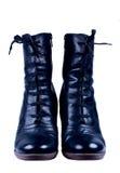 черными изолированные ботинками женщины шнурков s Стоковое Изображение RF