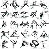 черными спорты установленные иконами Стоковые Изображения