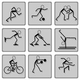 черными установленный иконами спорт тени Стоковые Изображения RF