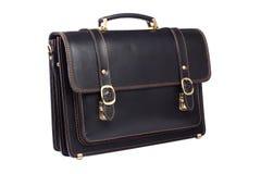 черным белизна изолированная портфелем кожаная Стоковая Фотография RF