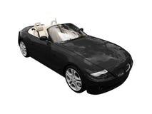 черным взгляд автомобиля изолированный фронтом Стоковая Фотография RF