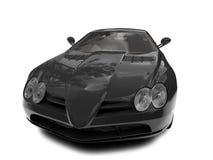 черным супер автомобиля изолированное фронтом Стоковая Фотография RF