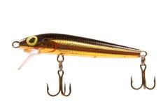 черным штепсельная вилка прикормом рыболовства изолированная золотом Стоковые Изображения