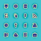 16 черных значков компьютера Стоковое Фото