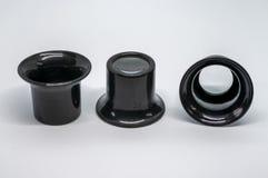 3 черных увеличивая части глаза стоковая фотография