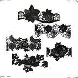 5 черных частей шнурка Стоковая Фотография RF