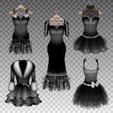 5 черных элегантных платьев иллюстрация вектора