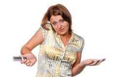 чернь девушки как только телефоны говорят 3 Стоковые Изображения RF