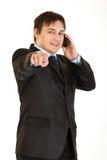чернь перста бизнесмена указывая говорить Стоковое фото RF