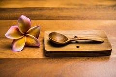 черпает деревянное ложкой Стоковое Фото