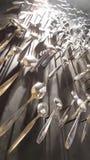 Черпает украшение ложкой на стене Стоковое Фото