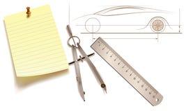 чертегные инструменты проекта автомобиля Стоковая Фотография RF