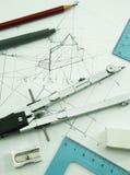 Чертегные инструменты сверху Стоковое Изображение RF