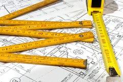 чертежи конструкции измеряя ленту Стоковые Изображения RF