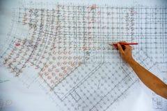 Чертежи конструкции на строительных площадках Стоковое фото RF