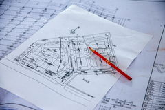 Чертежи конструкции на строительных площадках Стоковое Фото