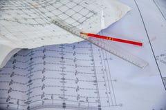 Чертежи конструкции на строительных площадках Стоковые Изображения