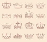 Чертежи кроны короля и ферзя иллюстрация вектора