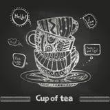 Чертежи мела кофейная чашка декоративная бесплатная иллюстрация