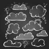 Чертежи мела речь пузыря установленная иллюстрация вектора