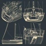 Чертежи плавать яхта иллюстрация штока
