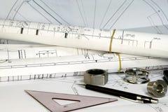 чертежи проектируя инструменты Стоковое Изображение
