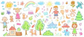 Чертежи ребенка Дети doodle картины, дети crayon иллюстрация вектора ребенк чертежа и руки вычерченная бесплатная иллюстрация