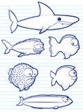 Чертежи рыб Стоковые Изображения