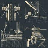 Чертежи смычка и ворота плавать яхта иллюстрация вектора