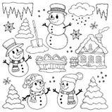 Чертежи 2 темы зимы иллюстрация вектора