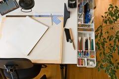 чертежный стол художников Стоковое фото RF