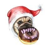 Чертеж акварели на теме Нового Года и рождения, собаки породы мопса в крышке santa нося донут держа d Стоковое Изображение RF