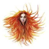 Чертеж акварели рыжеволосой девушки, где волосы превращаются в ветре в зеленом пальто в шарфе сирени, с зелеными глазами, внутри Стоковые Фотографии RF