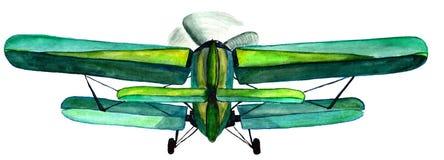 Чертеж акварели старого воздушного судна с двигателем винта для пользы в дизайне Стоковые Фотографии RF
