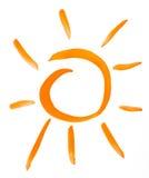 Чертеж акварели Sun. на бумаге Стоковое Изображение RF