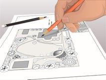 Чертеж ландшафта руки дизайнерский Стоковые Фотографии RF