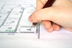 чертеж архитектора стоковая фотография rf