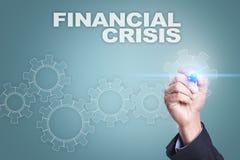 Чертеж бизнесмена на виртуальном экране padlock обязанности доллара кризиса принципиальной схемы монеток счетов предпосылки финан Стоковые Изображения