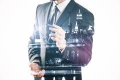 Чертеж бизнесмена что-то Стоковые Фото