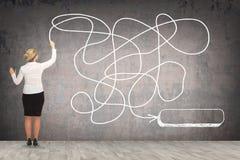 Чертеж бизнес-леди на стене Иллюстрация штока