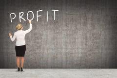 Чертеж бизнес-леди на стене Стоковые Фото