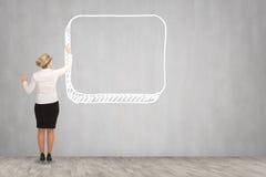 Чертеж бизнес-леди на стене Стоковое Изображение RF