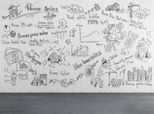 Чертеж бизнес-плана на стене Стоковые Изображения